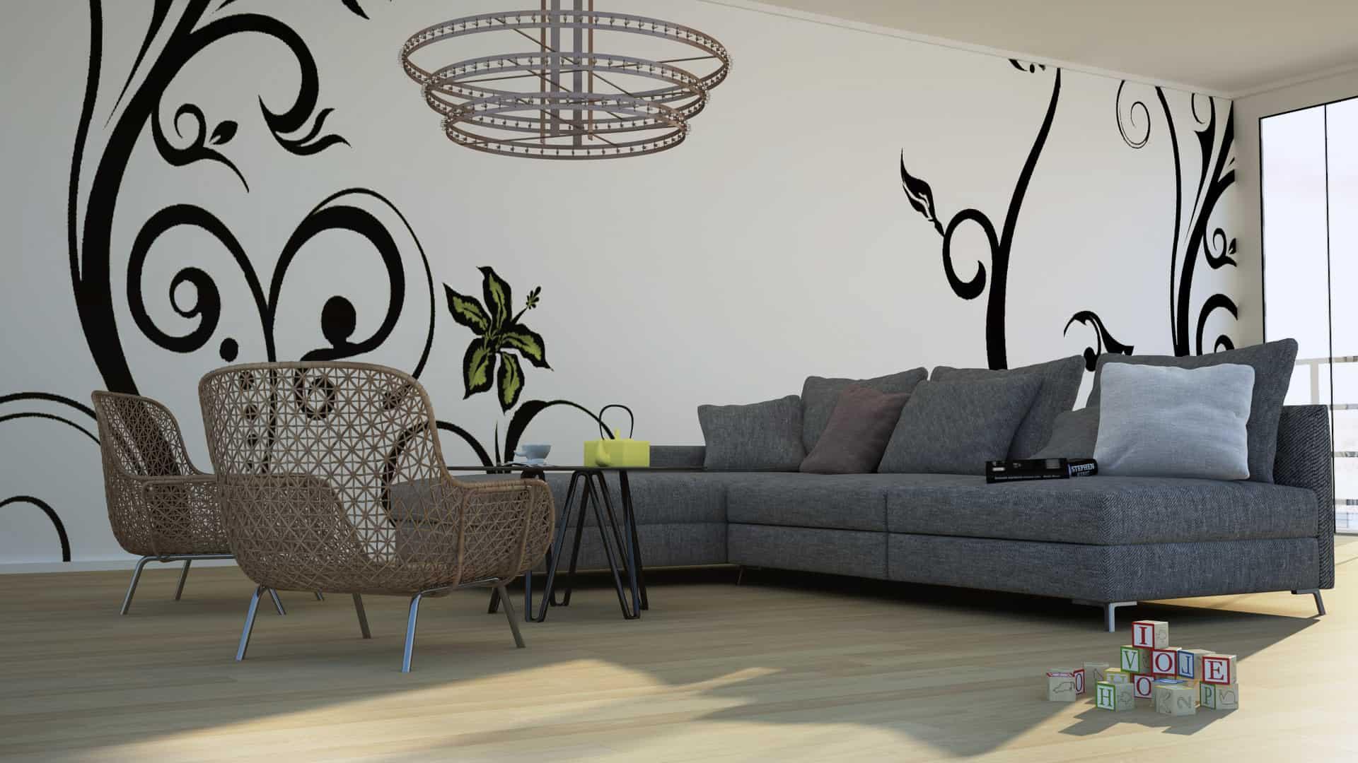 Infografía 3d diseño de Salón de un Apartamento
