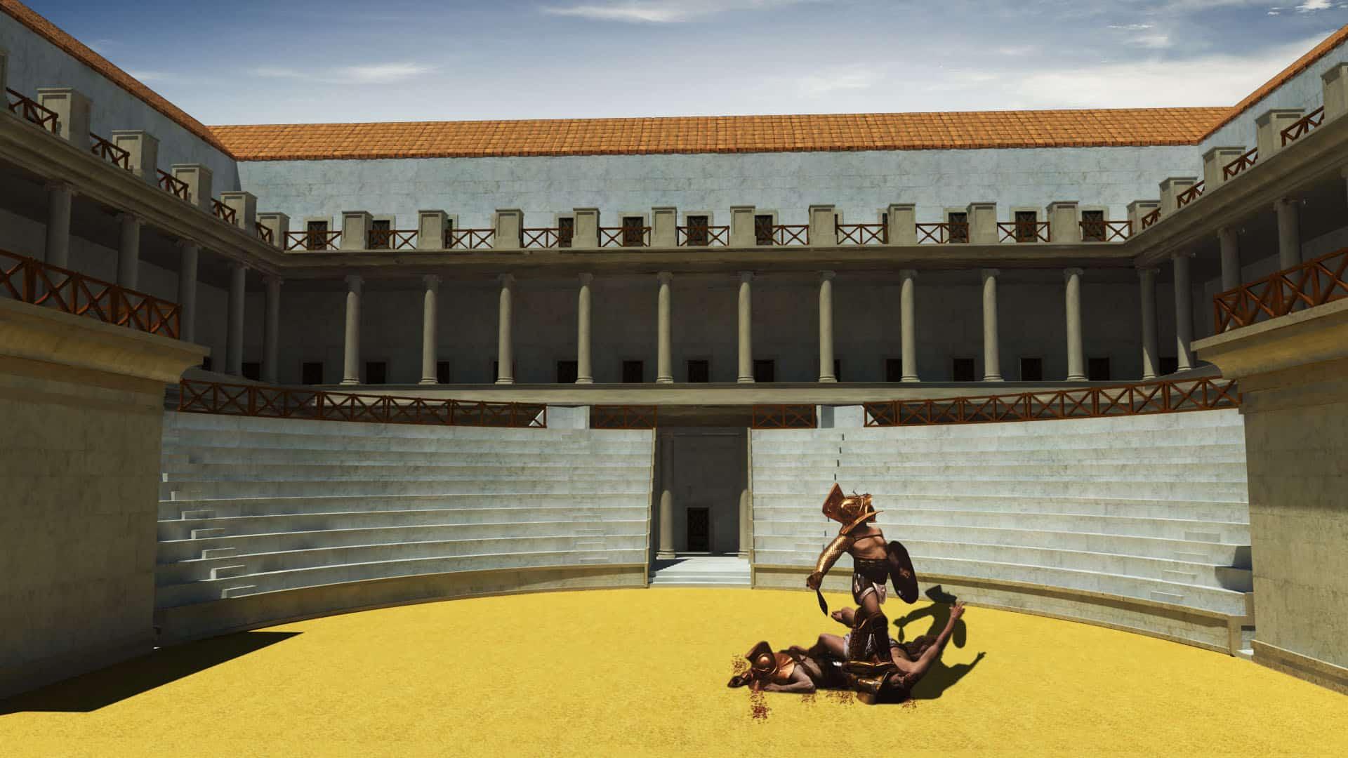 Escuela de Gladiadores, Ludus Magnus, Roma en 3d