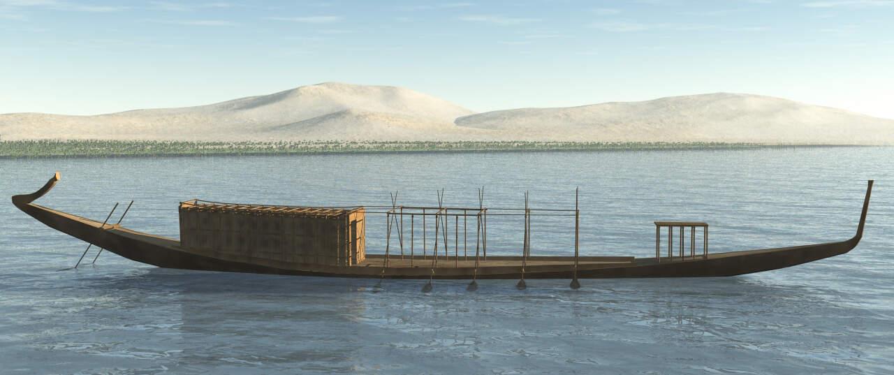 Barca funerario del Faraón Keops, en 3d